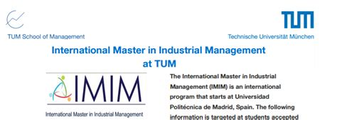 International Master in Industrial Management at