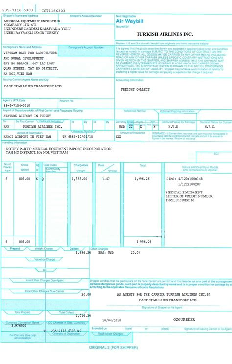 way: Air Waybill Number Meaning