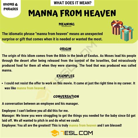 """""""Manna From Heaven"""" Definition With Useful Examples - 7 E S L"""