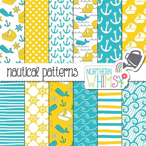 Blue and Yellow Digital Paper Nautical by
