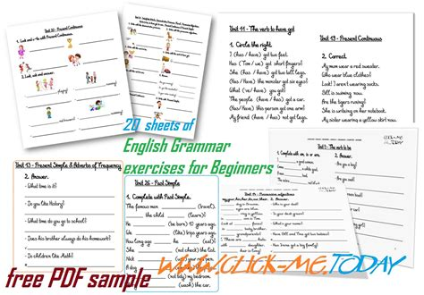 English Grammar exercises for Beginners PDF - 20 sheets