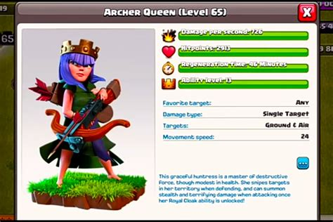 Clash Of Clans Archer Queen Level Cost