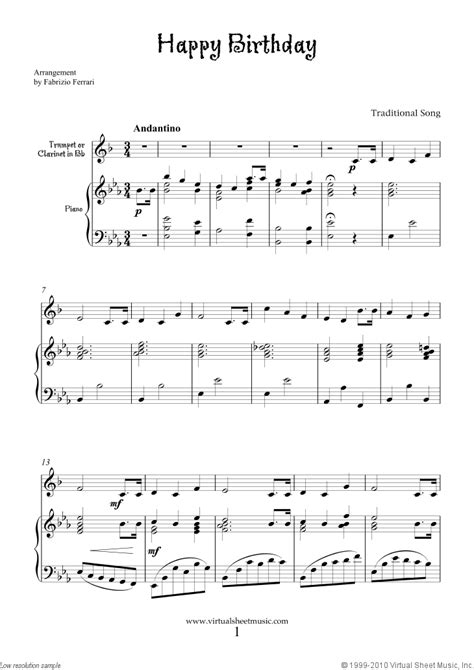 Free Happy Birthday sheet music for trumpet or clarinet