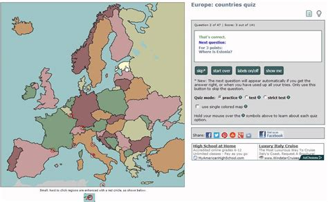 Sample of European countries geography quiz using Chrome