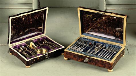 Two tortoise-shell spoon boxes with silver and silver-gilt