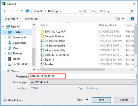 How to save an Excel filename with timestamp?