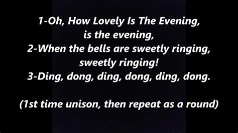 Oh How Lovely Is The Evening German Round LYRICS WORDS